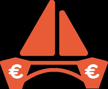 icône catamaran avec le symbole euro