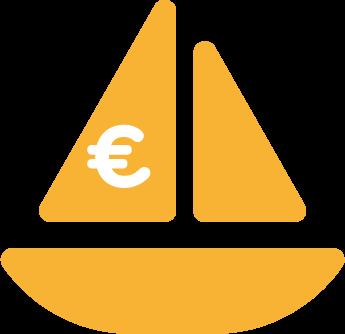 icône voilier avec le symbole euro
