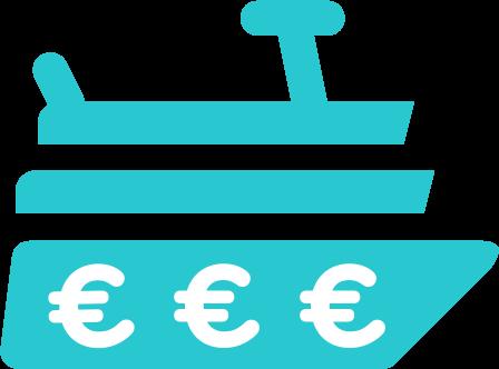icône yacht avec le symbole euro