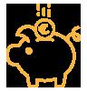 Icône tirelire cochon jaune