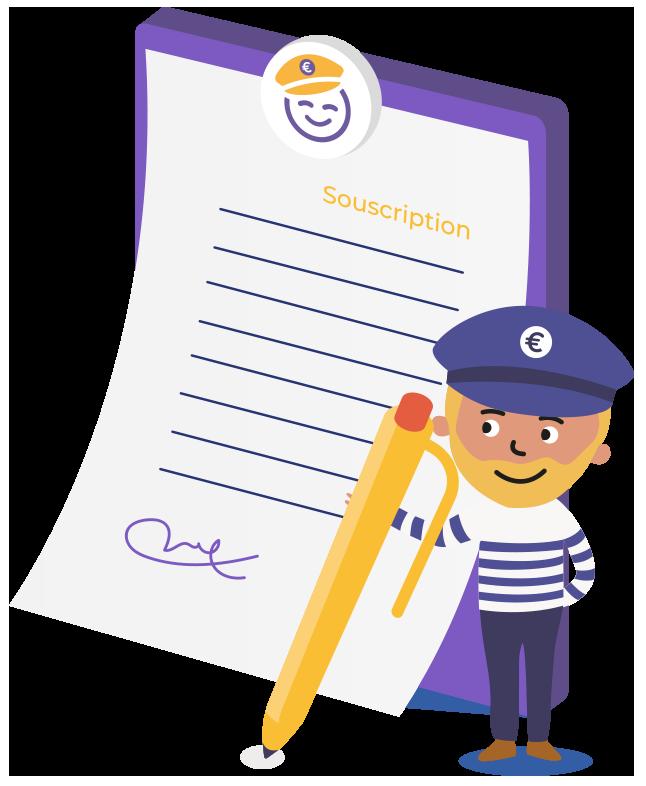 Illustration de Captain Achat signant un contrat de souscription