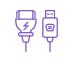 icône violette câbles informatiques