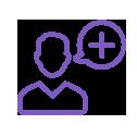 icône violette avatar homme avec une bulle représentant le symbole plus