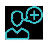 icône bleu avatar homme avec une bulle représentant le symbole plus