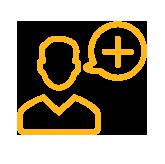 icône jaune avatar homme avec une bulle représentant le symbole plus