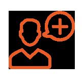 icône orange avatar homme avec une bulle représentant le symbole plus