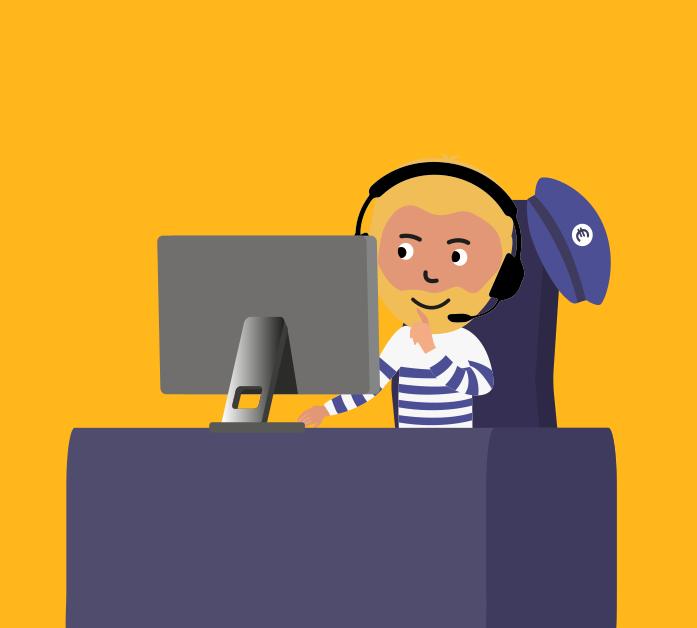 illustration du Captain de Captain Achat assis à son bureau avec un casque micro sur la tête semblant chercher sur son ordinateur les meilleurs prix pour les achats informatique