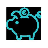 icône bleu tirelire en forme de cochon