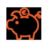 icône orange tirelire en forme de cochon