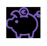 icône violette tirelire en forme de cochon