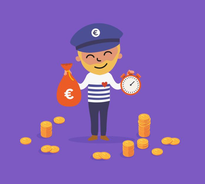 Illustration du captain de Captain Achat avec une bourse d'argent dans la main et un chrono dans l'autre main