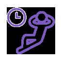 icône violette avatar homme allongé à côté d'une horloge avec les bras croisés derrière la tête
