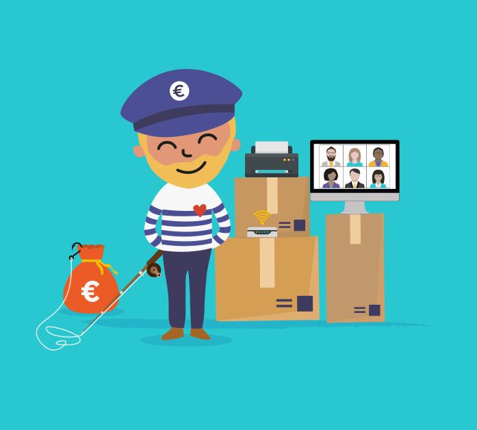 Illustration du captain de Captain Achat avec une canne à pêche dans la main reliée à une bourse d'argent et posant à côté de matériels informatiques